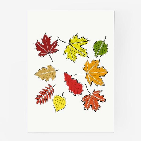 Постер «Осенние падающие листья»