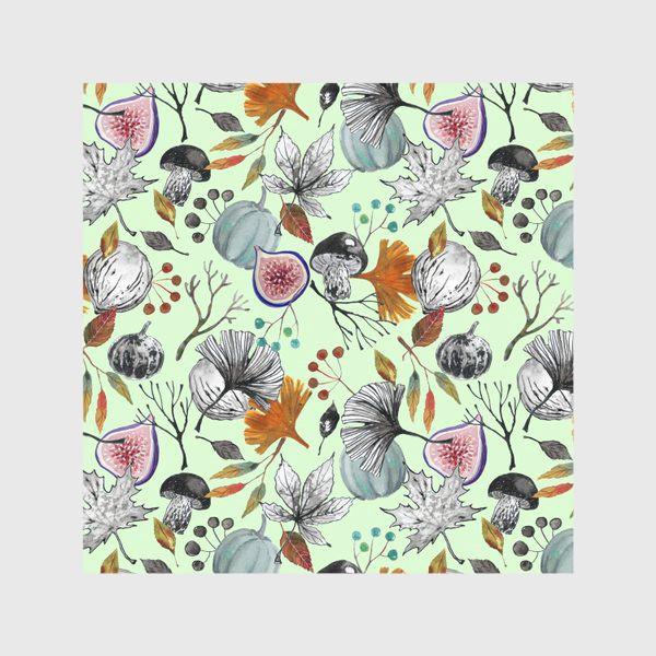 Скатерть «Тыквы, инжир и осенние листья. Тушь и акварель.»