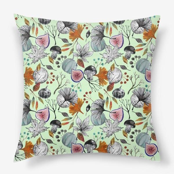 Подушка «Тыквы, инжир и осенние листья. Тушь и акварель.»