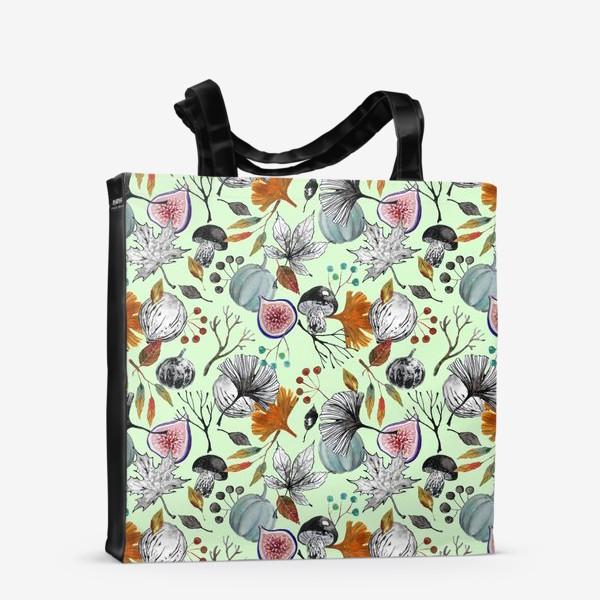 Сумка-шоппер «Тыквы, инжир и осенние листья. Тушь и акварель.»