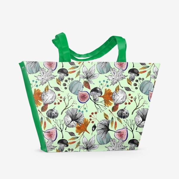 Пляжная сумка «Тыквы, инжир и осенние листья. Тушь и акварель.»