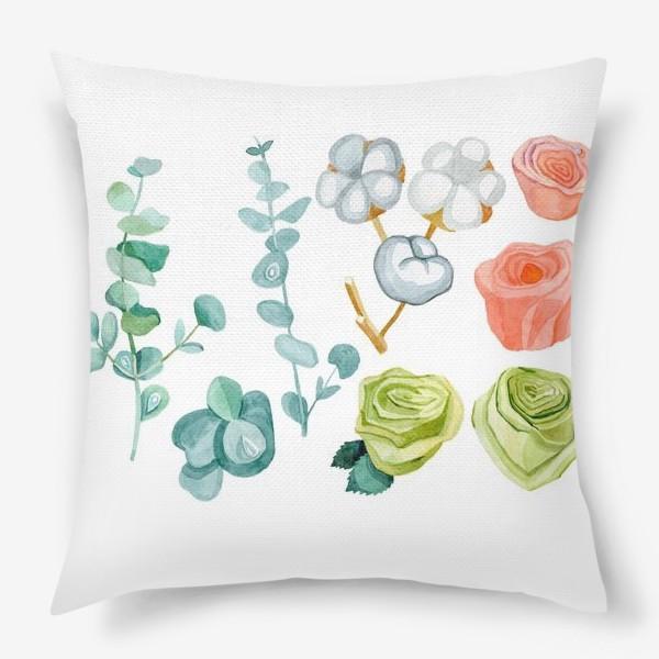 Подушка «Эвкалипт, Хлопок и розы»