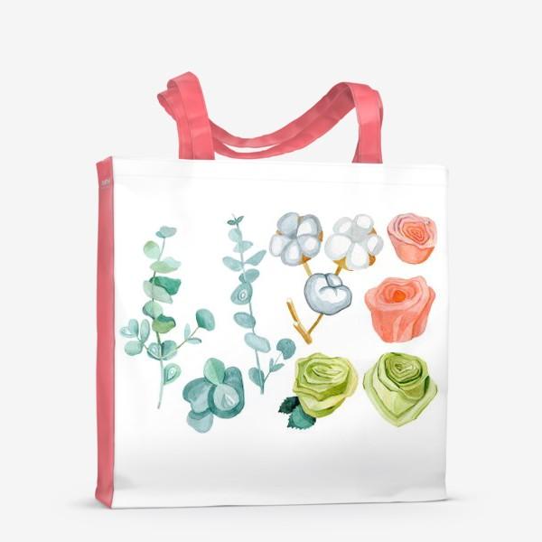Сумка-шоппер «Эвкалипт, Хлопок и розы»