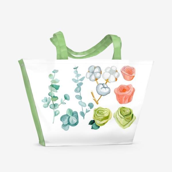 Пляжная сумка «Эвкалипт, Хлопок и розы»