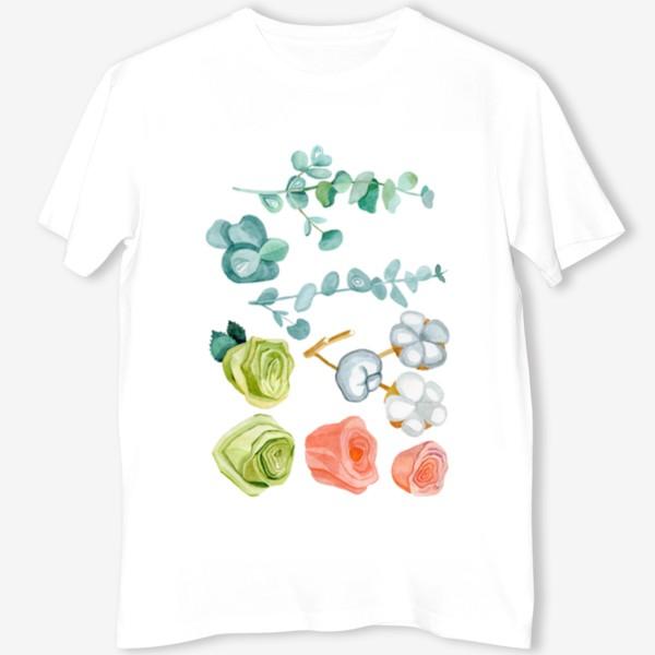 Футболка «Эвкалипт, Хлопок и розы»