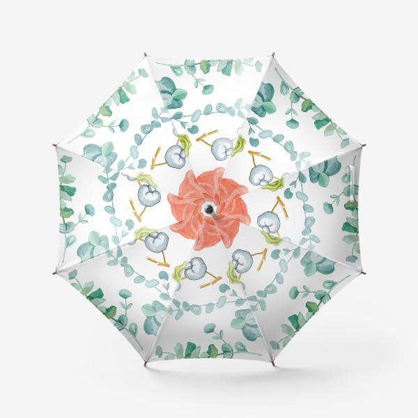Зонт «Эвкалипт, Хлопок и розы»