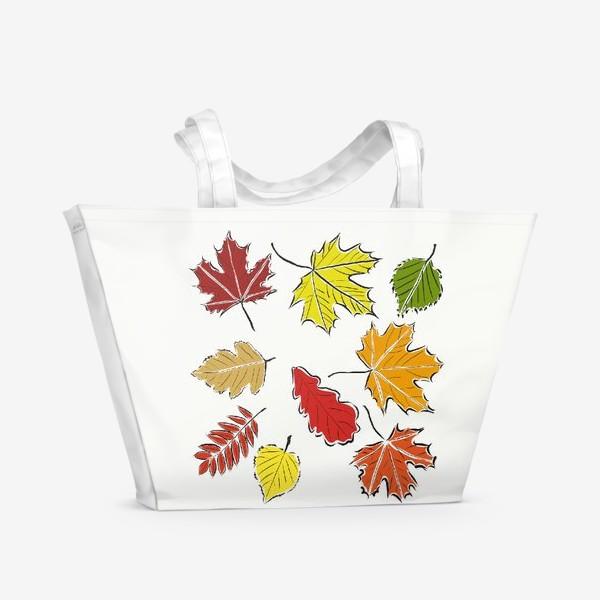 Пляжная сумка «Осенние падающие листья»