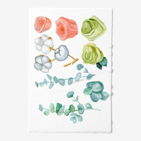 Полотенце «Эвкалипт, Хлопок и розы»