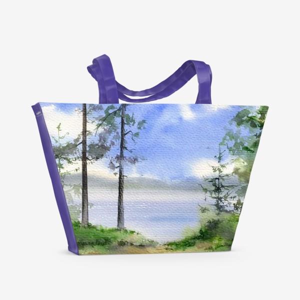 Пляжная сумка «Акварель Летний лес»