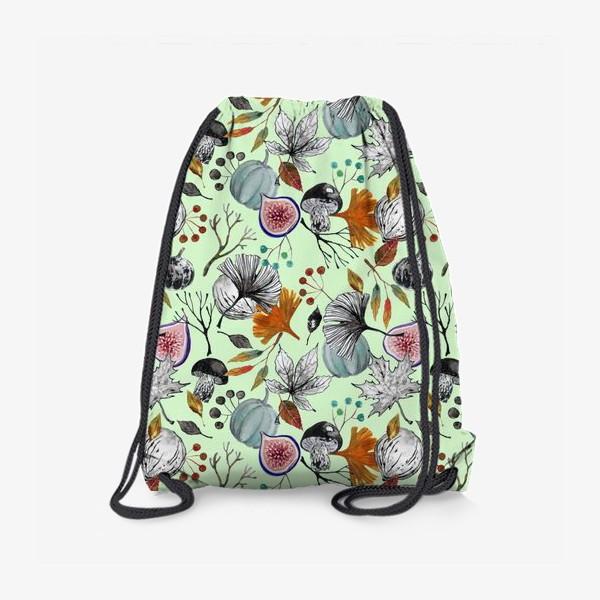 Рюкзак «Тыквы, инжир и осенние листья. Тушь и акварель.»