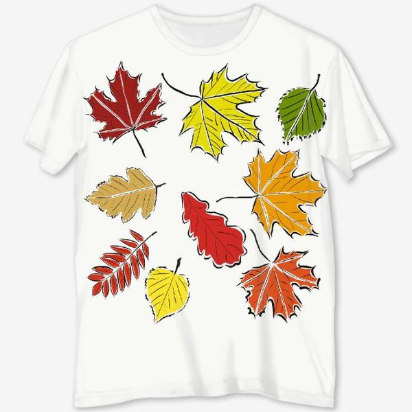 Футболка с полной запечаткой «Осенние падающие листья»