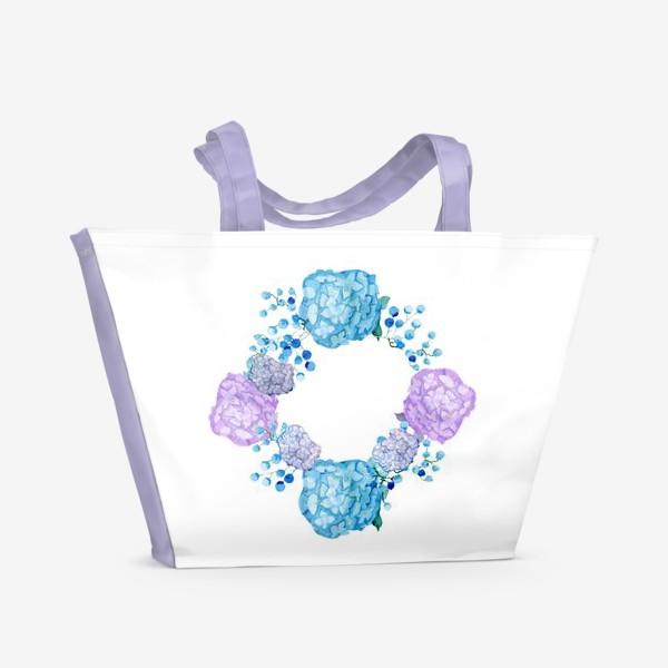 Пляжная сумка «Букет с гортензией»