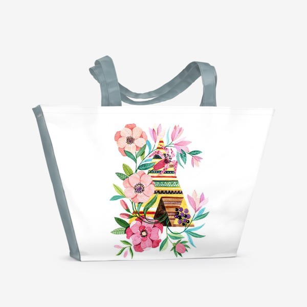 Пляжная сумка «Вигвам с цветами»