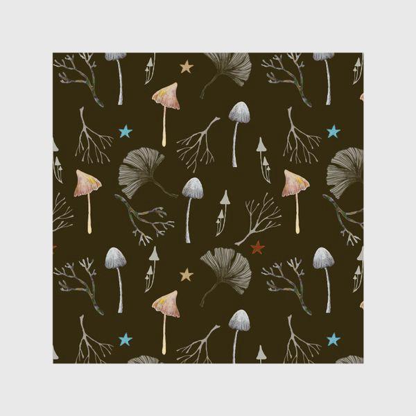 Шторы «Грибы, листья гинкго, веточки и звезды»