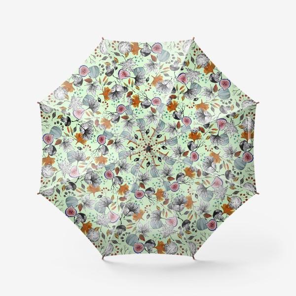 Зонт «Тыквы, инжир и осенние листья. Тушь и акварель.»