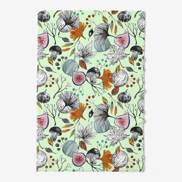Полотенце «Тыквы, инжир и осенние листья. Тушь и акварель.»