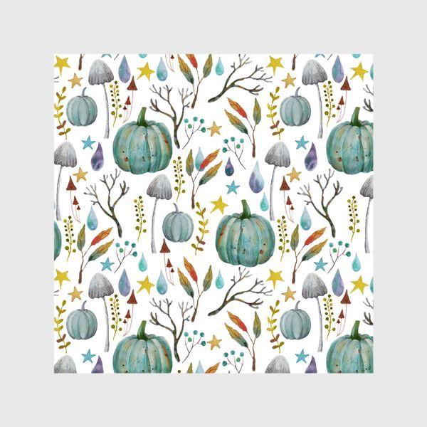 Шторы «тыквы, грибы, яркие разноцветные осенние листья и ветки »