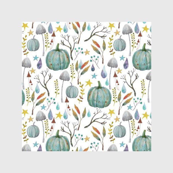 Скатерть «тыквы, грибы, яркие разноцветные осенние листья и ветки »