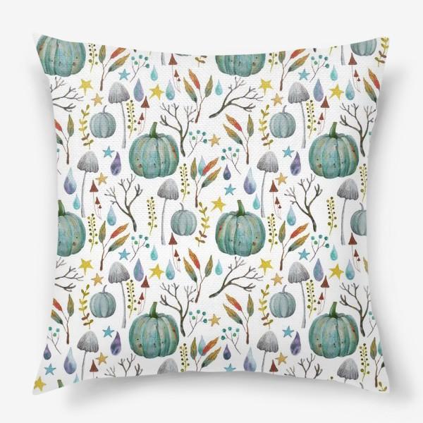 Подушка «тыквы, грибы, яркие разноцветные осенние листья и ветки »