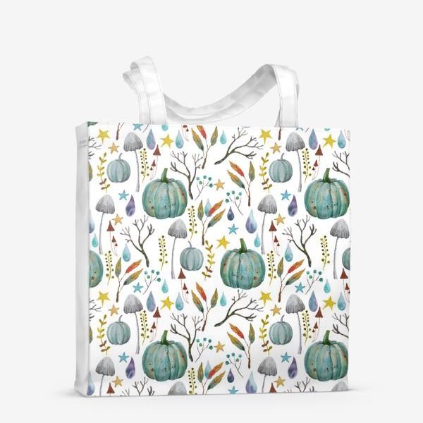 Сумка-шоппер «тыквы, грибы, яркие разноцветные осенние листья и ветки »