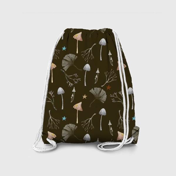 Рюкзак «Грибы, листья гинкго, веточки и звезды»