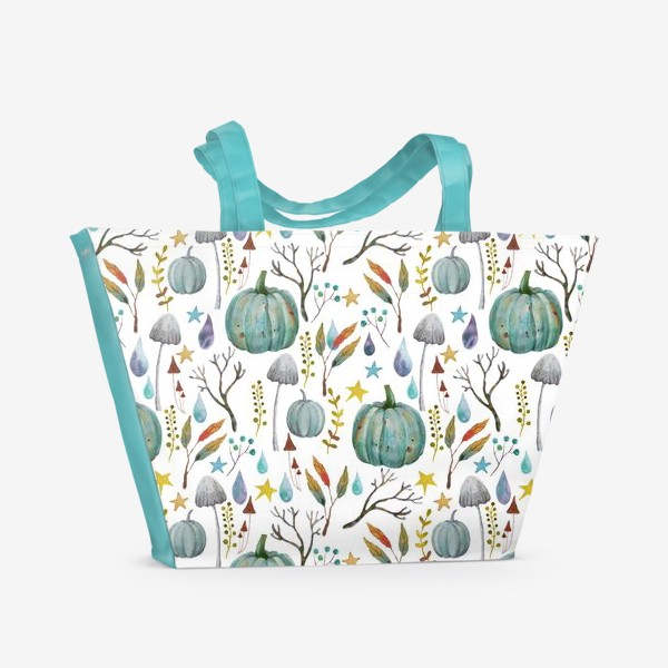 Пляжная сумка «тыквы, грибы, яркие разноцветные осенние листья и ветки »