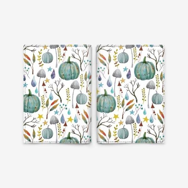 Обложка для паспорта «тыквы, грибы, яркие разноцветные осенние листья и ветки »
