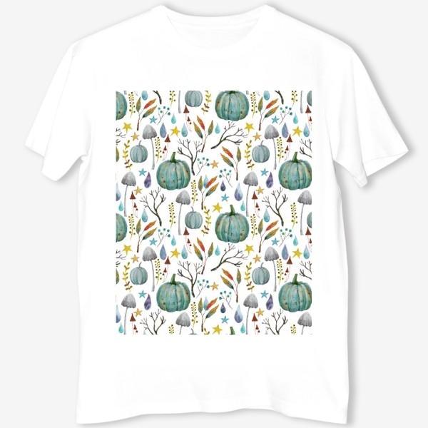 Футболка «тыквы, грибы, яркие разноцветные осенние листья и ветки »