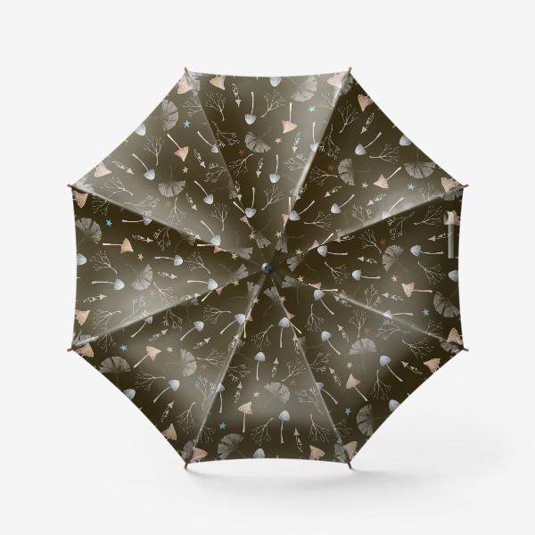 Зонт «Грибы, листья гинкго, веточки и звезды»