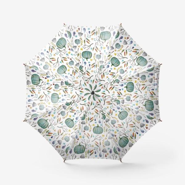Зонт «тыквы, грибы, яркие разноцветные осенние листья и ветки »