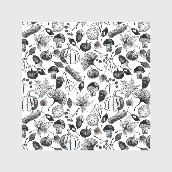 Скатерть « Тыквы, грибы и осенние листья. Тушь.»