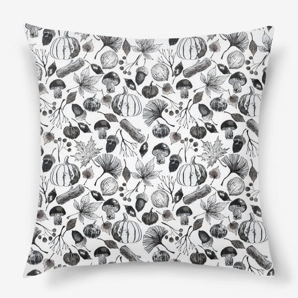 Подушка « Тыквы, грибы и осенние листья. Тушь.»