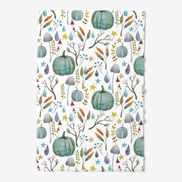 Полотенце «тыквы, грибы, яркие разноцветные осенние листья и ветки »