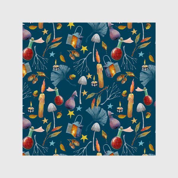 Шторы «Свечи, грибы, фонари, ветки, желуди, осенние листья, звезды. Акварель. Волшебство.»