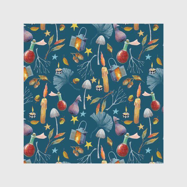 Скатерть «Свечи, грибы, фонари, ветки, желуди, осенние листья, звезды. Акварель. Волшебство.»