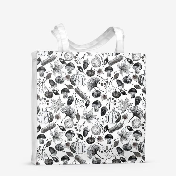 Сумка-шоппер « Тыквы, грибы и осенние листья. Тушь.»