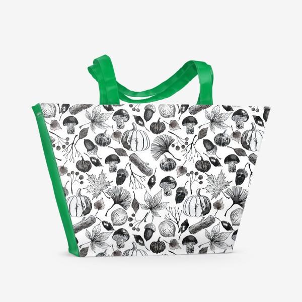 Пляжная сумка « Тыквы, грибы и осенние листья. Тушь.»
