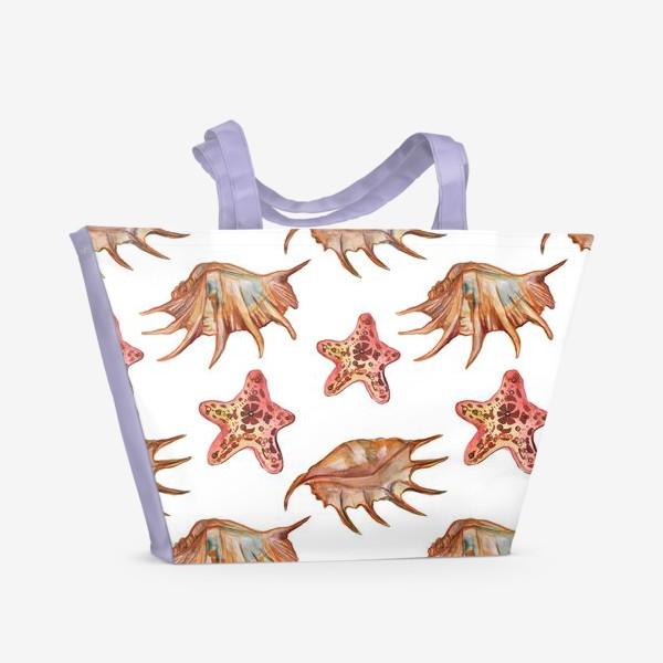 Пляжная сумка «Ракушки и морская хвезда»