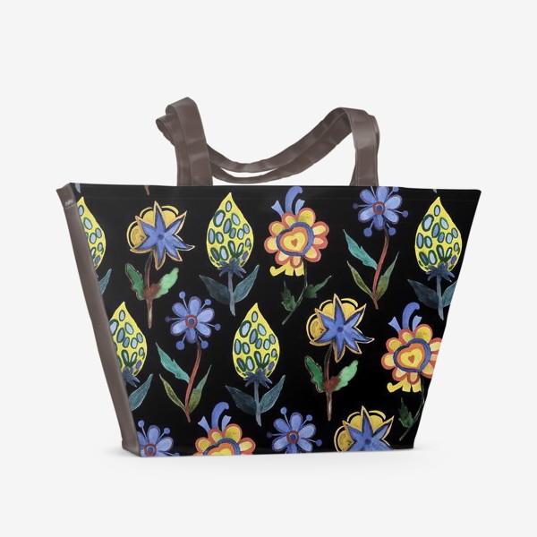 Пляжная сумка «Индийские мотивы на черном»