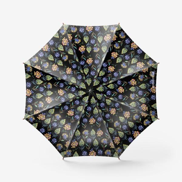 Зонт «Индийские мотивы на черном»