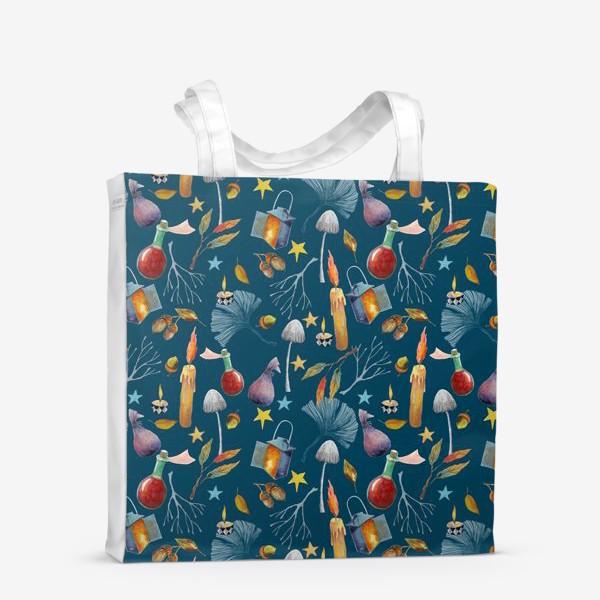 Сумка-шоппер «Свечи, грибы, фонари, ветки, желуди, осенние листья, звезды. Акварель. Волшебство.»