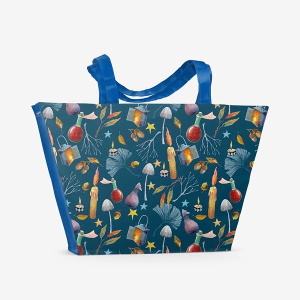 Пляжная сумка «Свечи, грибы, фонари, ветки, желуди, осенние листья, звезды. Акварель. Волшебство.»