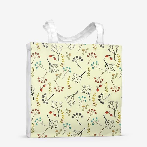 Сумка-шоппер «Веточки, семена, шиповник. Акварель. Осень.»