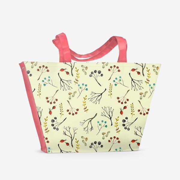 Пляжная сумка «Веточки, семена, шиповник. Акварель. Осень.»