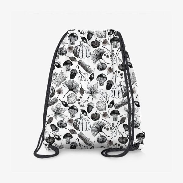 Рюкзак « Тыквы, грибы и осенние листья. Тушь.»