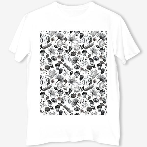Футболка « Тыквы, грибы и осенние листья. Тушь.»