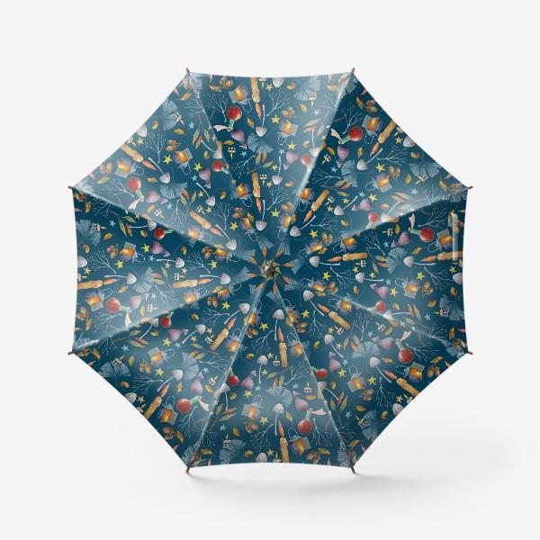 Зонт «Свечи, грибы, фонари, ветки, желуди, осенние листья, звезды. Акварель. Волшебство.»