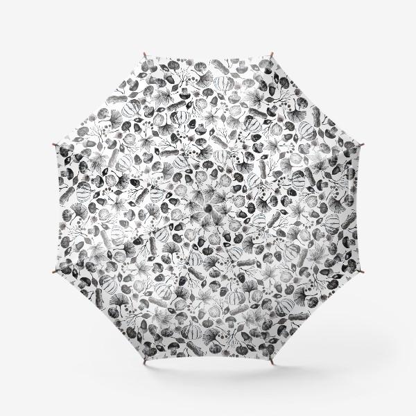 Зонт « Тыквы, грибы и осенние листья. Тушь.»