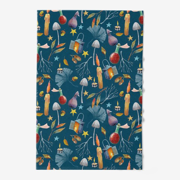 Полотенце «Свечи, грибы, фонари, ветки, желуди, осенние листья, звезды. Акварель. Волшебство.»