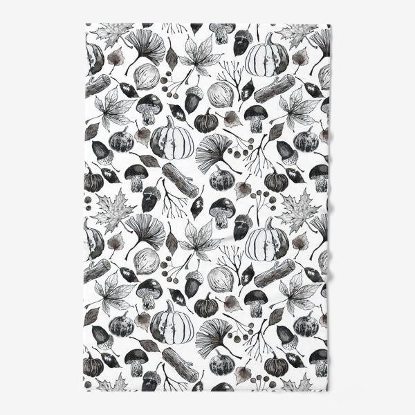Полотенце « Тыквы, грибы и осенние листья. Тушь.»